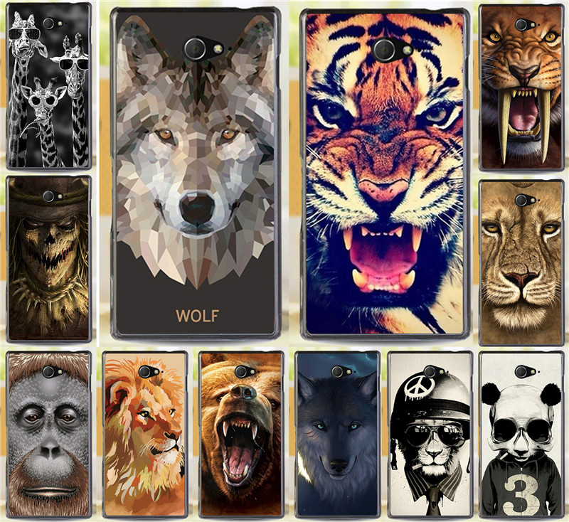 Rhinoceros Tiger Lion Wolf Bear Hood Animal Cases Sony Xperia M2 S50h Dual D2302 D2305 D2303 D2306 Phone Case Cover Shell