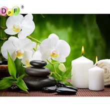 DPF New Diy Diamond Painting Diamond Embroidery Orchid Candles Stones Decorative Pictures Of Rhinestones Hobbies And Crafts