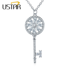 USTAR Key Pendant Necklaces for women AAA Cubic Zirconia Silver color Chain Crystals Necklaces fashion Jewelry Christmas gift(China)