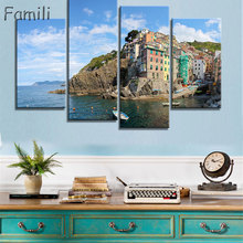 4 Piece Modern Canvas Painting Italy Landscape Wall Art Poser Print Beautiful City River Pictures Home Decor for Bedroom