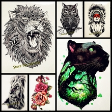 Hot Fashion Indian King Lion Head Designs Flash Tattoo Black Waterproof Tattoo Sticker GB496 Men Body Art Arm Sleeve Tatoo Lions(China)
