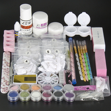Luxuries Acrylic Nail Art Kit gel Powder Liquid  Nail Form Glitter File Glue Brush Rhinestone Clipper Primer French Kit