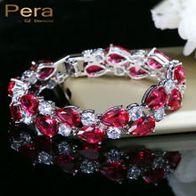 Pera 7 Colors Options Round And Oval Red Cubic Zirconia Stone Women Big Bracelets & Bangles For Wedding Jewelry Gift B028(China)