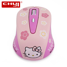 Wireless Mouse Hello Kitty Computer Mice 1600DPI Wireless Optical Mouse Mause Pink Hello Kitty Mute Button Mice for Girl Gifts(China)