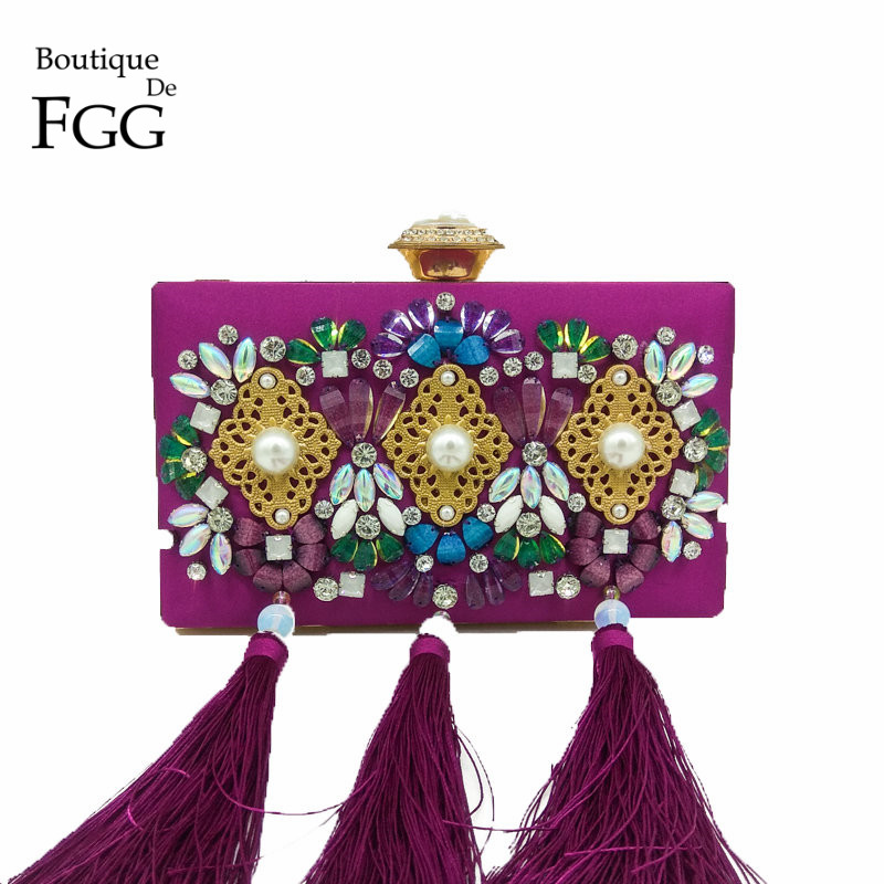 Boutique De FGG Crystal &amp; Beaded Women Purple Satin Tassel Evening Bags Fashion Wedding Party Metal Day Clutches Handbag Purse<br>