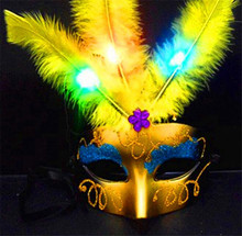 5pcs Fashion LED Glowing Party Mask Birthday Halloween Princess Feather Mask Light Up Masquerade Masks Flash Party Mask