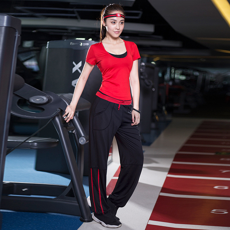 New Women Fitness Suits Loose Elastic Sport Sets Girls Yoga Dancing Running Gym Three-piece Sets (T-shirt + Bra + Pants) M-XXL<br>