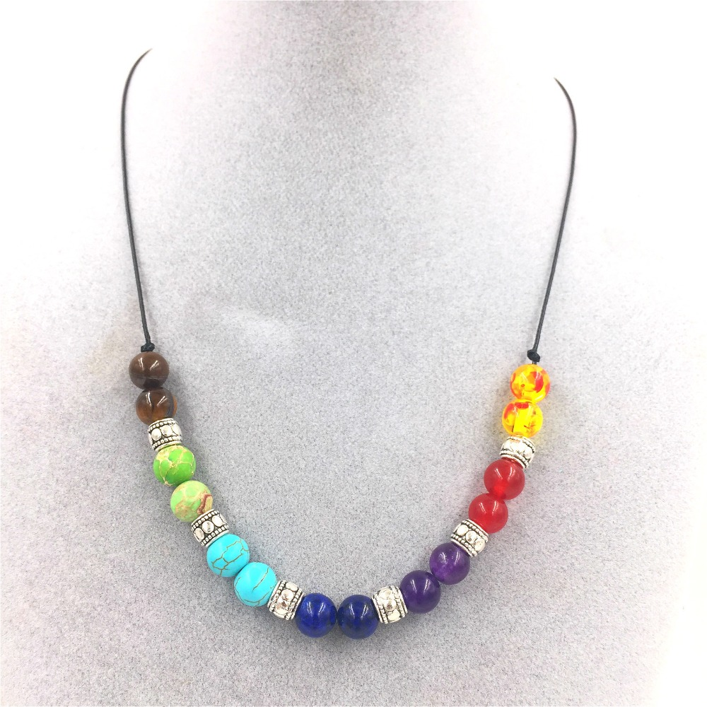 hot natural volcano lava stone energy colorful 7 chakras necklace 100pcs/lot