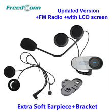 Free shipping!!TCOM-SC W/Screen BT Bluetooth Motorcycle Helmet Intercom Headset with FM Radio+Free Earpiece+Bracket
