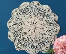Round crochet table place mat cloth lace cotton felt placemat Cup kids coaster doilies pad mug holder dining kitchen accessories(China)