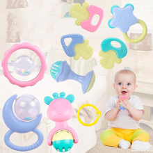 10PCS/Set Fun Little Loud Jingle Ball Ring Develop Baby Intelligence Training Grasping Ability Rattles Baby Toys 0-12 Months