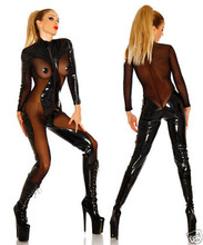 Vocole Women Sexy Zipper Faux Leather Vinyl Wetlook Mesh Jumpsuit Bodysuit Faux Leather Catsuit Teddy Size S M L XL XXL