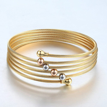 New 2017 Gold Colour Twist Wire Mesh Hand Bangle Multilayer Charm Bracelets Pulseiras Fashion Jewelry For  Women Bijoux