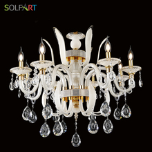 Crystal Pendants For Chandeliers Modern European Candle Lights Clear White Handmade Glass With K9 Crystal Chandeliers(China)