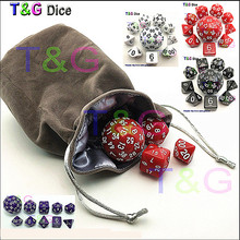 Wholesale 10pc Dice Set T&G High quality d4,d6,d8,2xd10,d12,,d20,d24,d30,d60 dice bag rpg dungeon dragons d&d board game dados(China)
