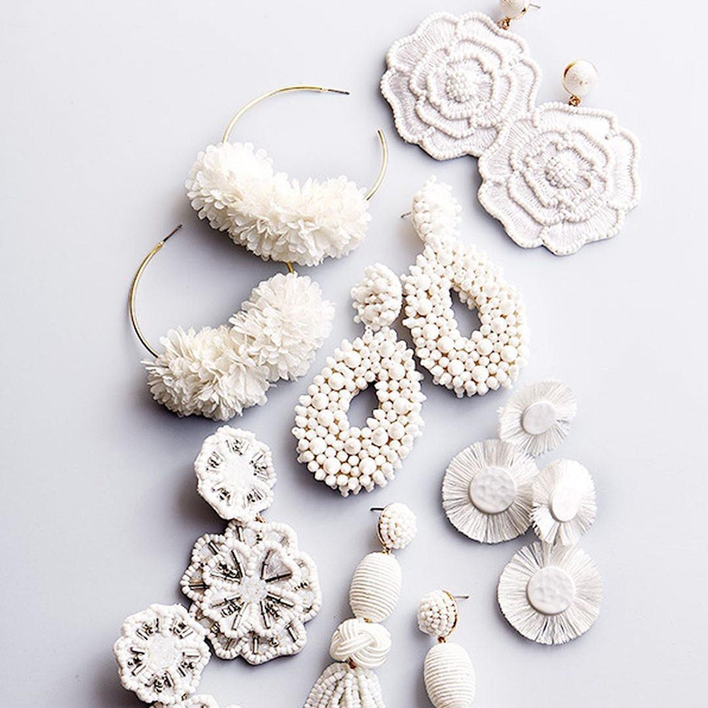 JUJIA Spring White Big Earrings for Women 2019 Trendy Beads Flower Cotton Tassel Fringes title=