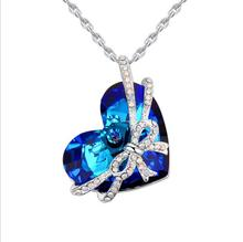 Crystal Necklace - Blue Heart Rosette Necklace for  Womens  Beautiful Gift for Girls