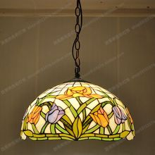 Free shipping 40CM American tulip antique cafe color glass chandelier Tiffany lighting fixtures kitchen table Restaurant antique