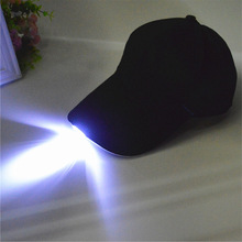 NEW Unisex Caps LED Lighted Glow Club Party Black Fabric Travel Hats Baseball Cap Solid Color(China)
