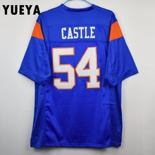 "YUEYA ""Blue Mountain State"" Movie Jerseys #54 Thad Castle American Football Jersey Mens Cheap Blue S-3XL"