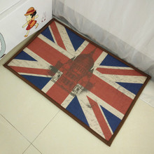 1 Pcs Non-slip Doormat Entrance Mats American Style National flag USA/UK Memory Foam Bath Rugs China 40*60 CM