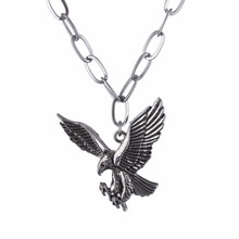 Stainless Steel Eagle Necklace Pendant Necklace Bird Punk Men's Necklace Gun Black Wing Jewelry For Male