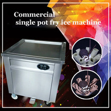 220V 110V fry ice cream machine Stainless steel Commercial single pot fry ice machine CBJF-1DA-600 frying ice pan