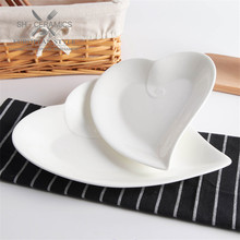 Cheap Ceramic Dish Tableware White Peach heart shape plate Snack salad flat plates sushi dishes high-quality Saucers and plates(China)