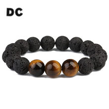 DC Vintage Round Big Black 12mm Lava Stone Tiger Eye Beads Charm Bracelet for Boy Men Male Beaded Yoga Jewelry Gifts Pulsera(China)