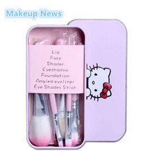 Hello Kitty 7 Pcs/set Mini Makeup brush Set cosmetics kit de pinceis de maquiagem make up brush Kit with Metal box.(China)