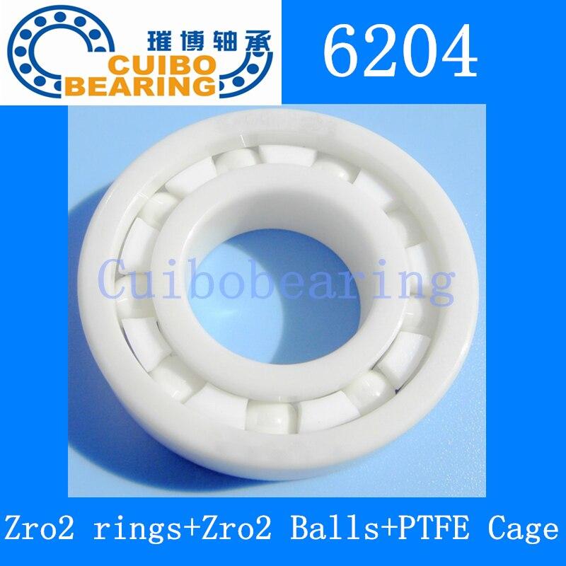 6204 Ceramic Bearing 20x47x14 Zirconia ZrO2 6204<br>