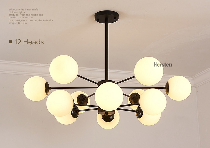 Horsten Nordic Creative Magic Bean Pendant Lights 6812 Heads Glass Ball Pendant Lamp For Living Dining Room Cafe Restaurant E27 (10)