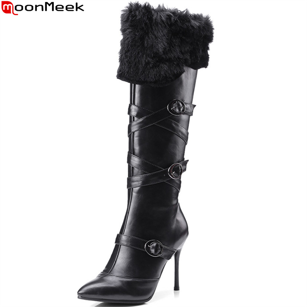 MoonMeek black white fashion women shoes pointed toe zipper thin heel high quality pu ladies boots super high knee high boots<br>