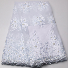 Beautiful beaded lace fabric for wedding dress white color african tulle lace fabric fashion french net lace fabric AMY719B-C(China)