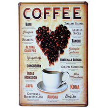 LOVE HEART COFFEE Metal Tin Plaque Vintage Beer Decor Sign heart shape beans for cafe decoration LJ5-5 20x30cm A1(China)