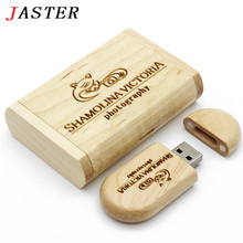 JASTER Customize LOGO Wooden USB flash drive pen drives Maple wood+Packing box 4GB 8GB 16GB 32GB memory stick  personal Gift