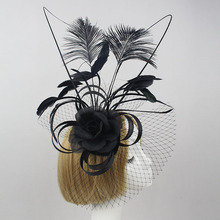 New Arival Adult Bridal Feather Black Mesh Wedding Hat Lady fascinators Vintage Elegant Feather Cocktail Party Hair Headband