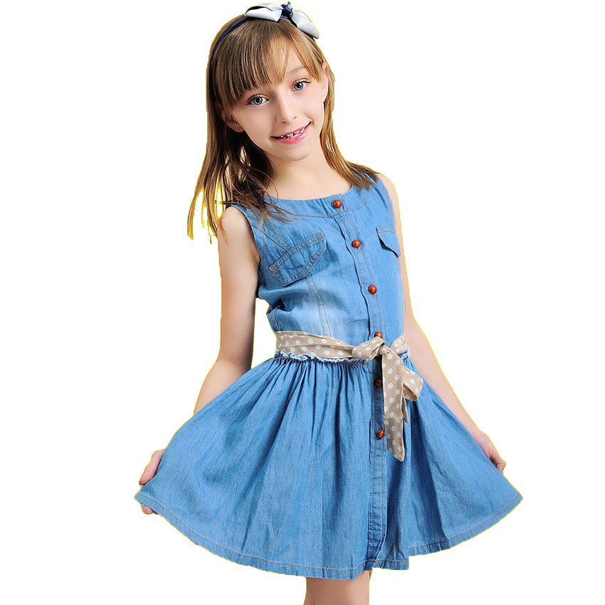 2016 new fashion brand summer kids clothes children clothing girls dress baby kids princess dress summer denim holiday sundress<br><br>Aliexpress