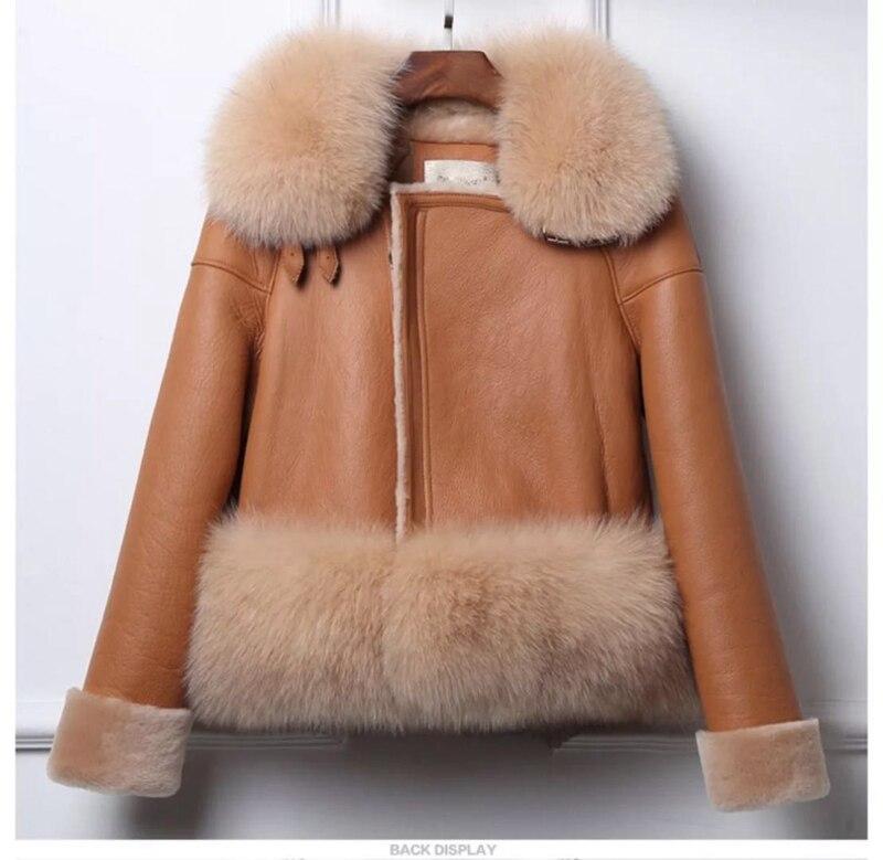 genuine sheep leatherskin jacket fox fur cooar coats (26)