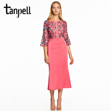 Tanpell mermaid cocktail dress light plum scoop half sleeves tea length gown women evening homecoming short cocktail dresses(China)