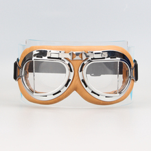 New HOt Retro Aviator Pilot Bikes Cruiser Motorcycle Glasses Cycling Goggles Silver Yellow Frame Clear Lens
