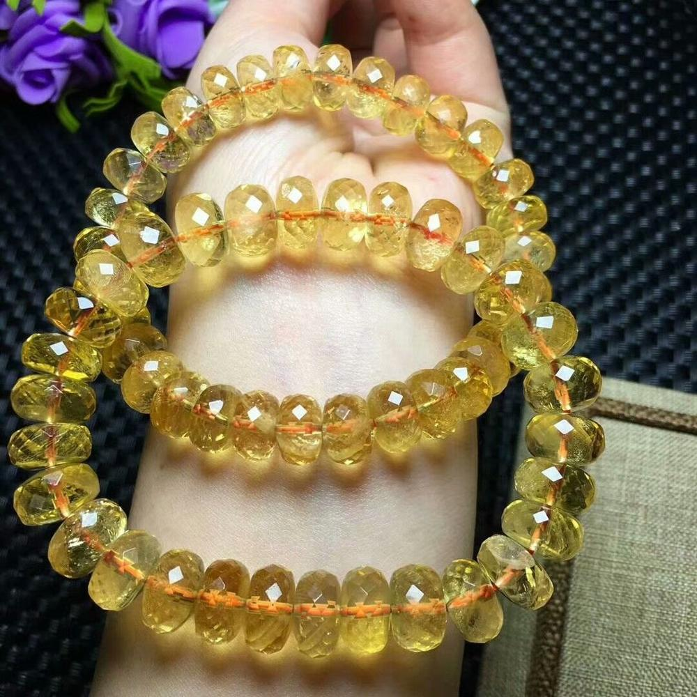 FREE SHIPPING Natural Yellow Citrine Crystal Bracelet Quartz Beads 12-11mm AAAA