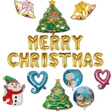 2018 Christmas Decoration Ballons Santa Bells Tree Snow Foil Balloon New Year Party Decoration Home Inflatable Classic Toys Gift(China)