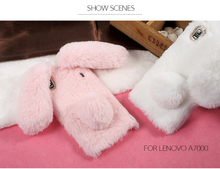 For Lenovo A7000 3D Rabbit Soft Case Warm Cute Bunny Fluffy Fur TPU Cell Phone Back Cover Shell for Lenovo K3 Note K50-t5/ A7000