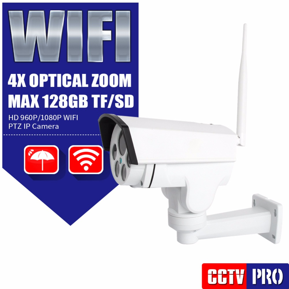 Wifi PTZ IP Wireless Camera HD 1080P 960P Bullet CCTV Camera Security Onvif 4X Zoom Auto Focus Lens Outdoor IR 30m CamHi View