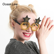Funny Happy New Year Sparkling Star Glasses Photo Booth Props Celebration Party Favor Accessories Festival Supplies Decoration(China)