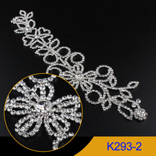 1pcs Rhinestone Applique Crystal clear stone sew on Flower Pattern Silver appliques use for wedding dress ornament K293-2