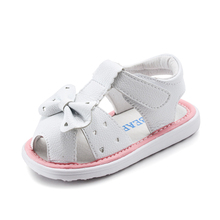Summer Toddler Girl Solid White Party Baby Shoes Infant Hot Sale sandal Bowknot PU Baby Small Size Sandal Shoes GU2565