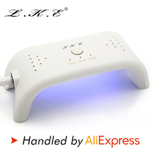 LKE 12w Mini Nail Dryer Curing UV Lamp 3 timing with 405nm 365nm White LED Can Cure Nail Gel Builders LED Gels Nail Art Too(China)