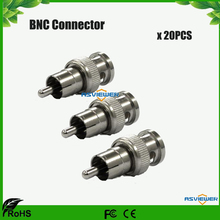 BNC Male to RCA Male Coax BNC Connector Adapter Cable Plug for cctv camera 20pcs/lot(China)